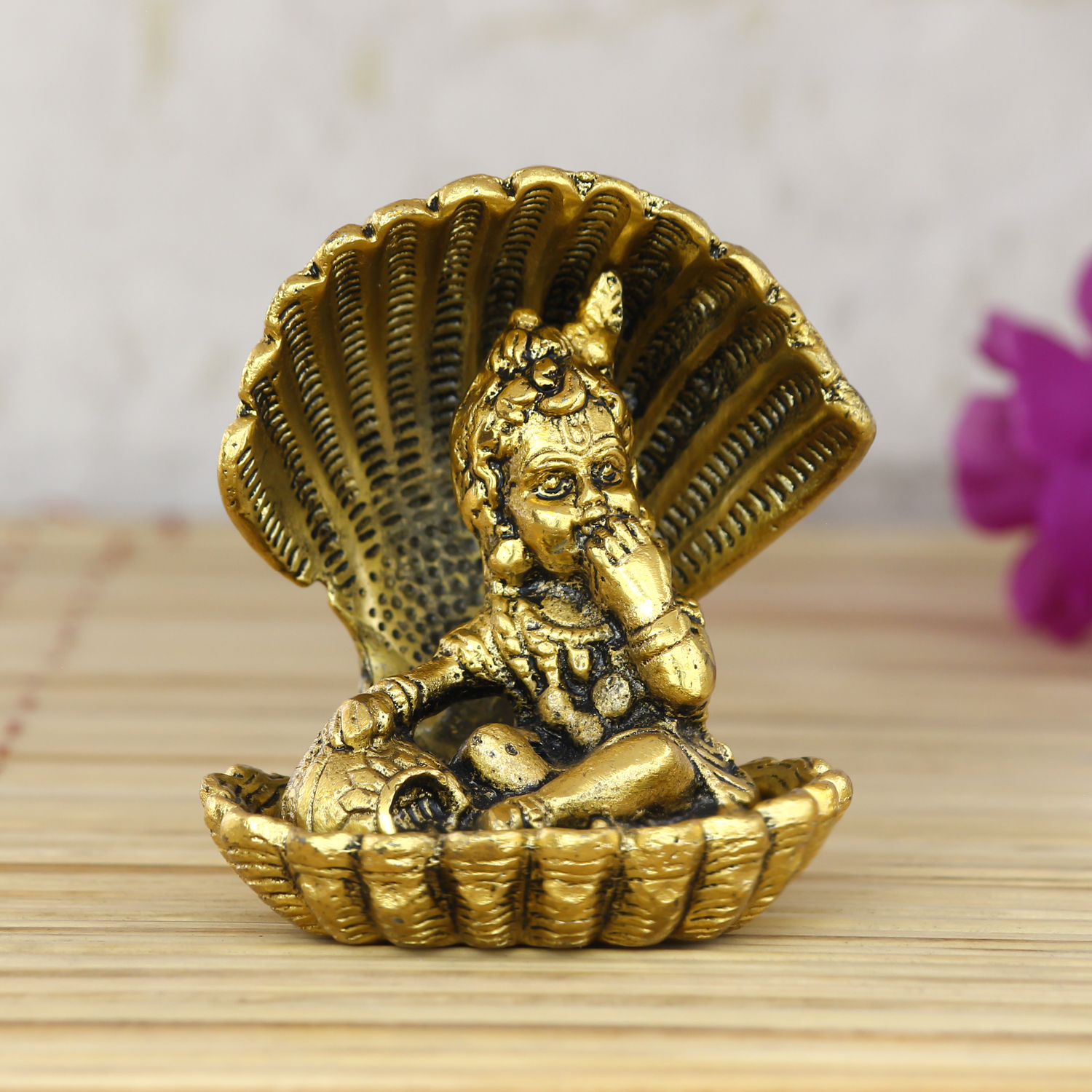 Golden Bal Gopal Krishna having Makhan Decorative Showpiece Indian Home Decor