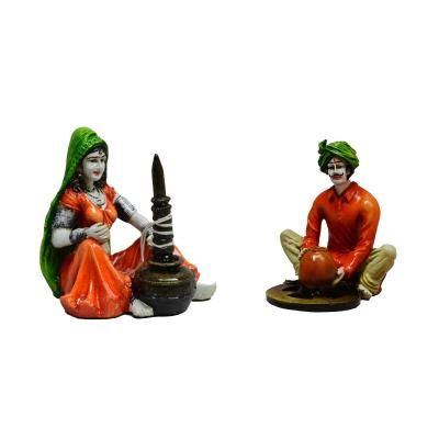 Combo of Rajasthani Craftman and Lady Statue Indian Home Decor