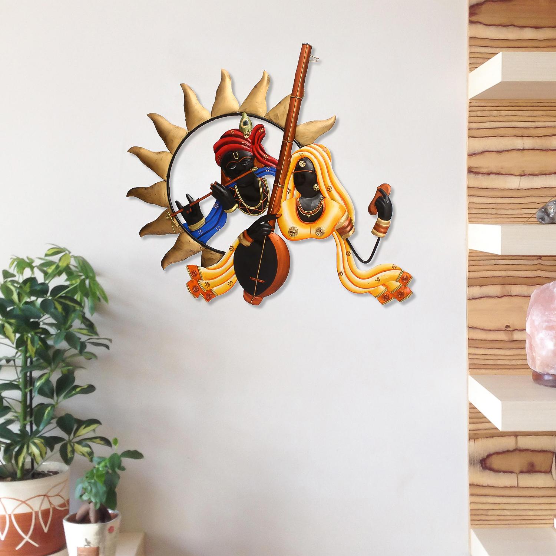 Radha Krishna Playing Flute/Bansuri And Veena Wall Hanging Indian Home Decor