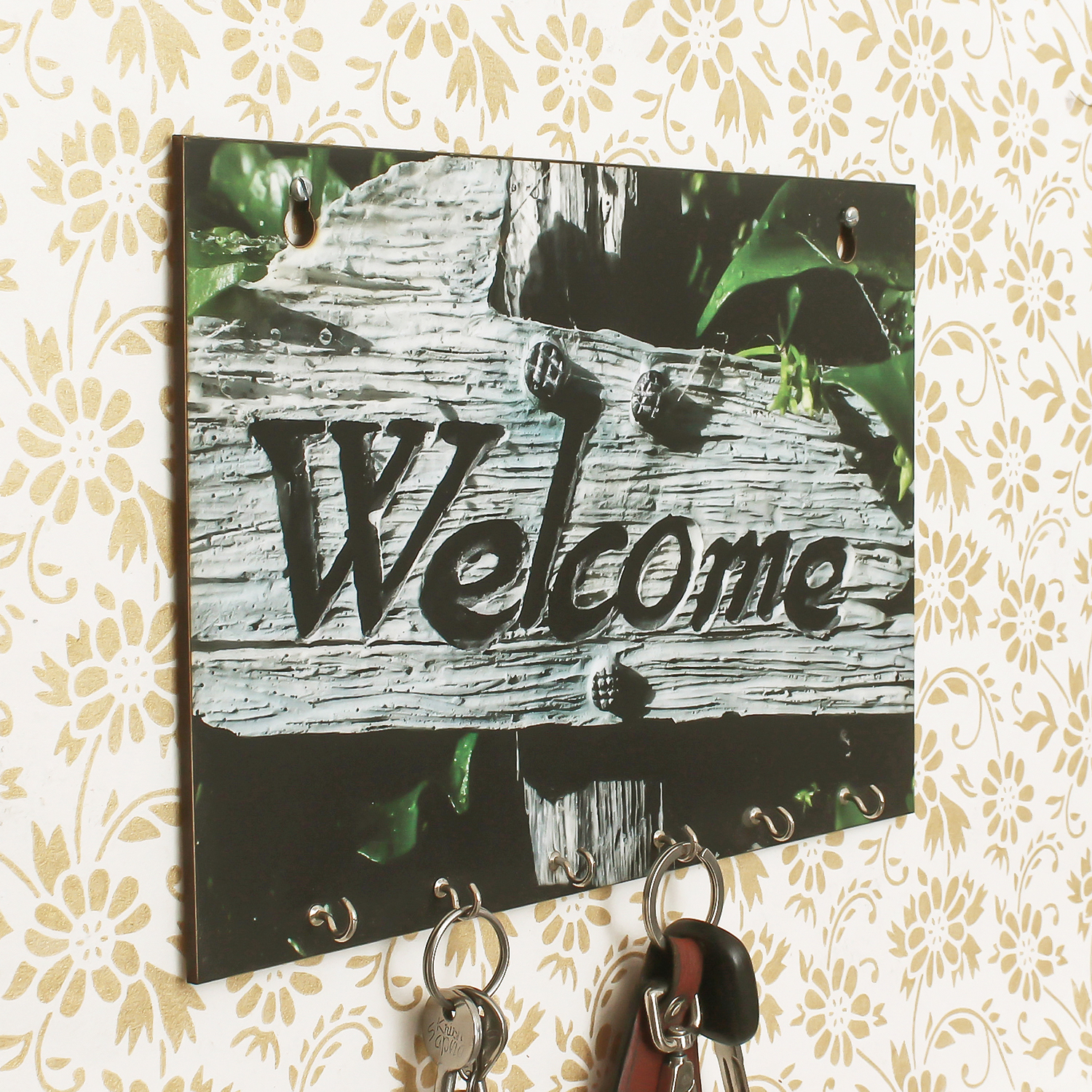 Welcome Theme Wooden Key Holder with 6 Hooks Indian Home Decor