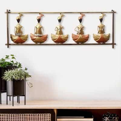 Set of 5 Tribal Women Playing Different Musical Instruments Golden Decorative Iron Wall Hanging Indian Home Decor