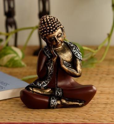 Antique Finish Handcrafted Thinking Buddha Indian Home Decor