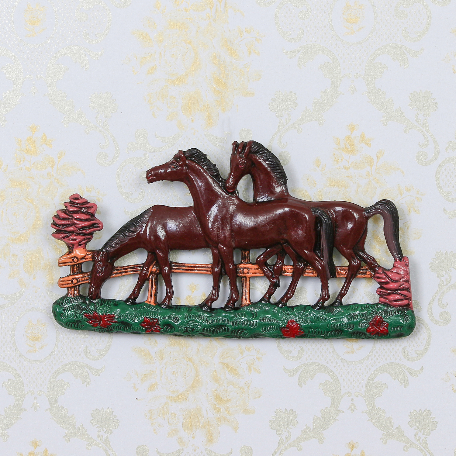 Set of 3 White Horses Colorful Decorative Wall Hanging Indian Home Decor