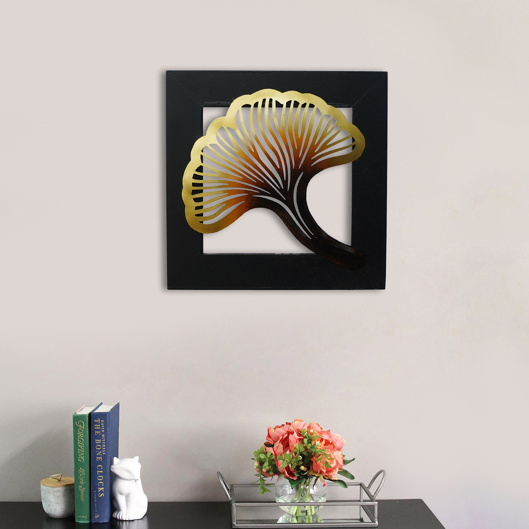 Colorful Iron Leaf with Wooden Frame Handcrafted Wall Hanging Indian Home Decor
