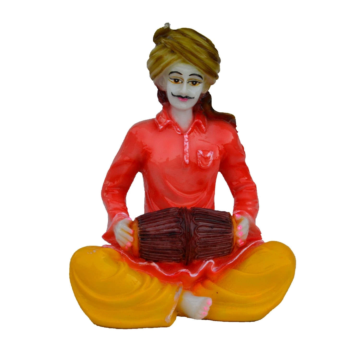 Rajasthani Musician Statue Playing Dholak Indian Home Decor