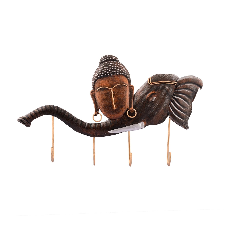 Buddha Head on Elephant Trunk Wrought Iron Key Holder Indian Home Decor