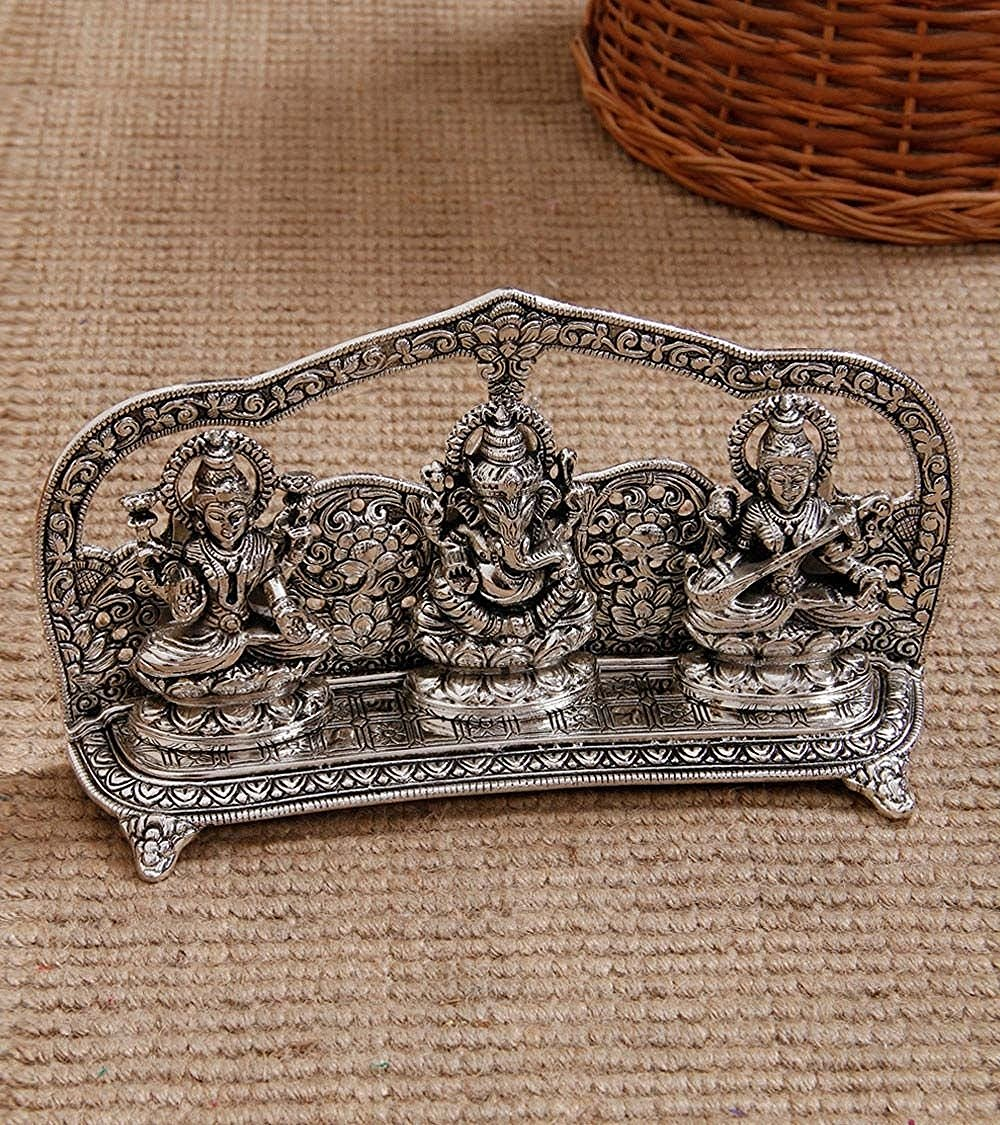 Laxmi Ganesha Saraswati Shining religious decorative showpiece Indian Home Decor
