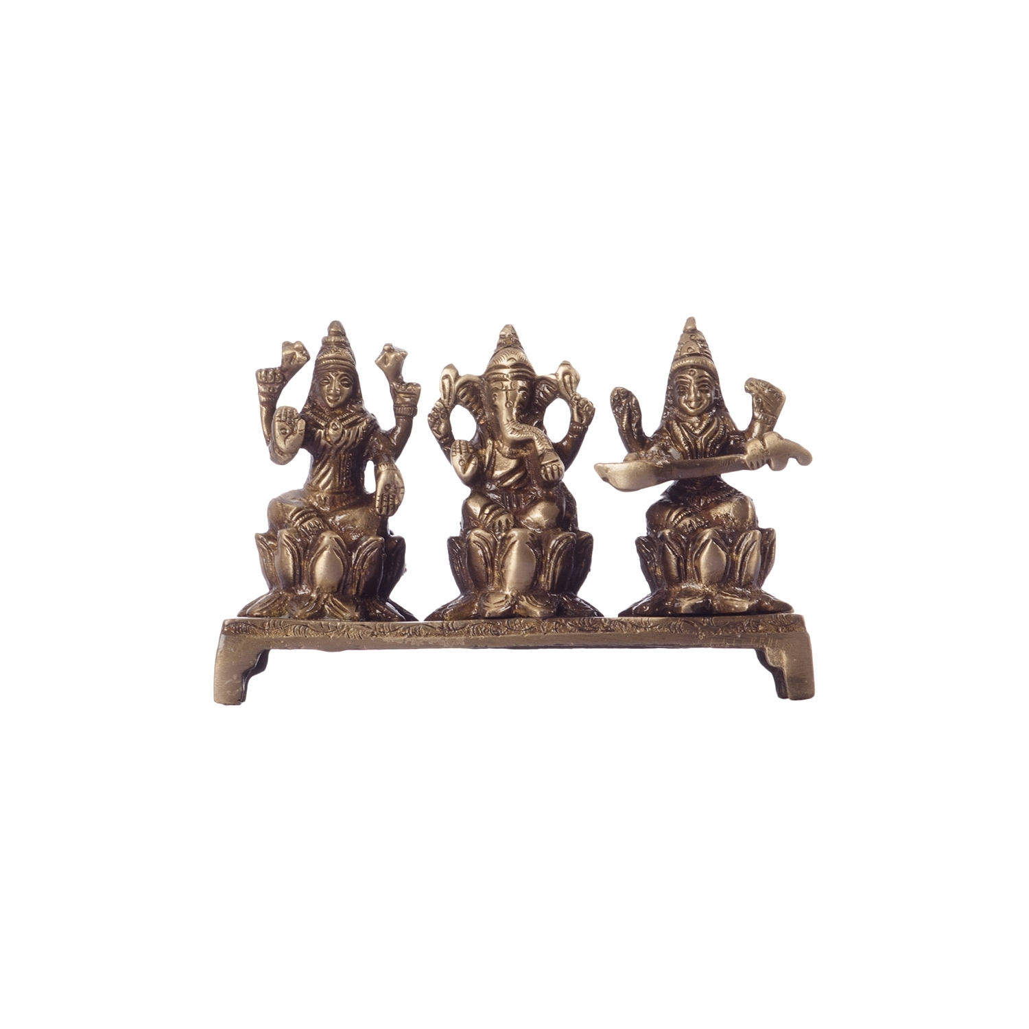 Antique Finish Brass Laxmi Ganesha Saraswati on Lotus Base Indian Home Decor