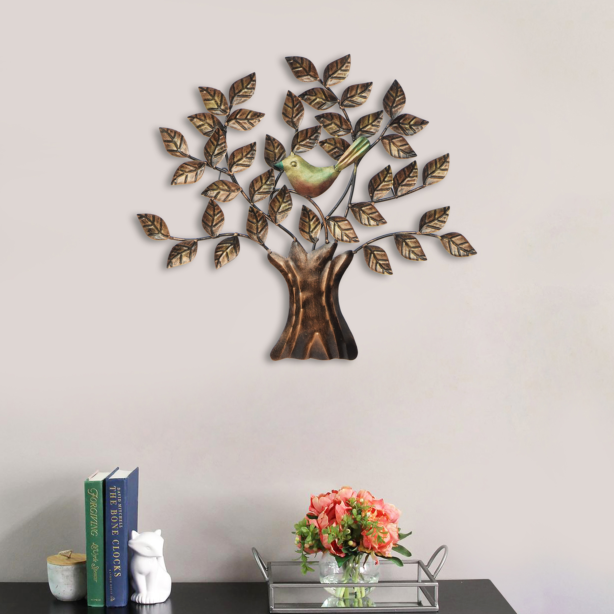 Bird Sitting on Colorful Leaves Tree Handcrafted Iron Wall Hanging Indian Home Decor