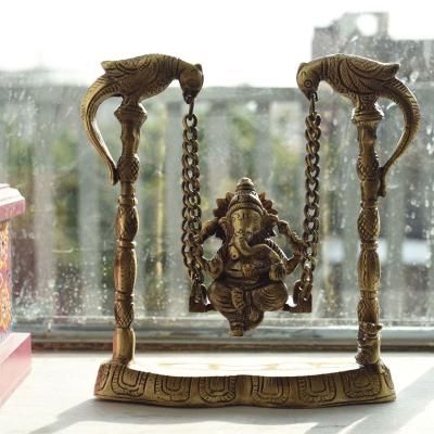 Brass Lord Ganeshs on Peacock Jhoola/Swing Indian Home Decor