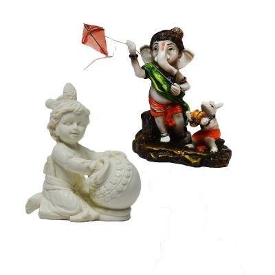 Combo of Lord Ganesha and Laddu Gopal Statue Indian Home Decor