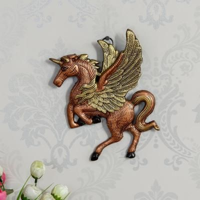Decorative Flying Horse Metal Wall Hanging Showpiece Indian Home Decor