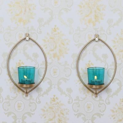 2 Blue Glass Cup Golden Tea Light Candle Holder with Wall Sconce Indian Home Decor