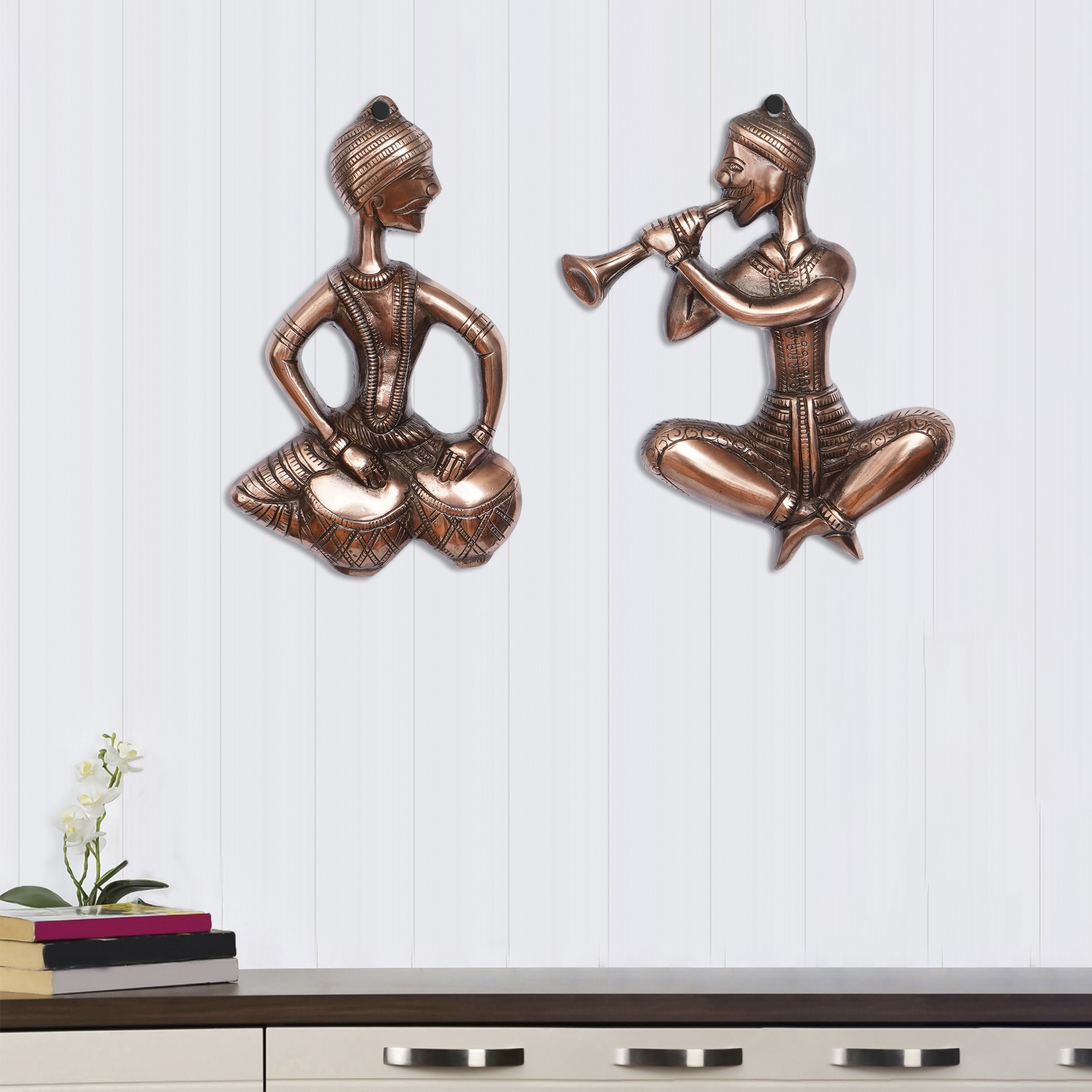 Set of 2 Musicians Brown Color Metal Wall Hanging Indian Home Decor
