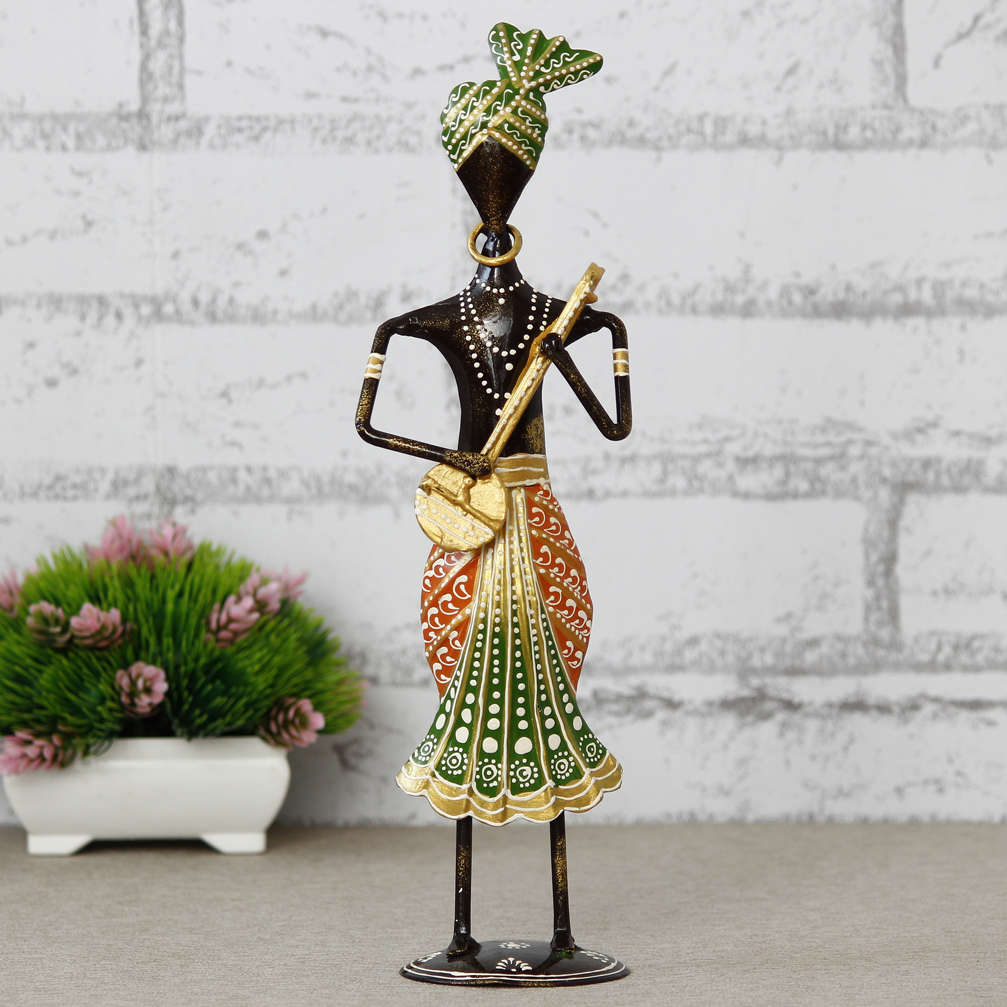 Tribal Man Playing Musical Instrument Dholak Decorative Showpiece Indian Home Decor