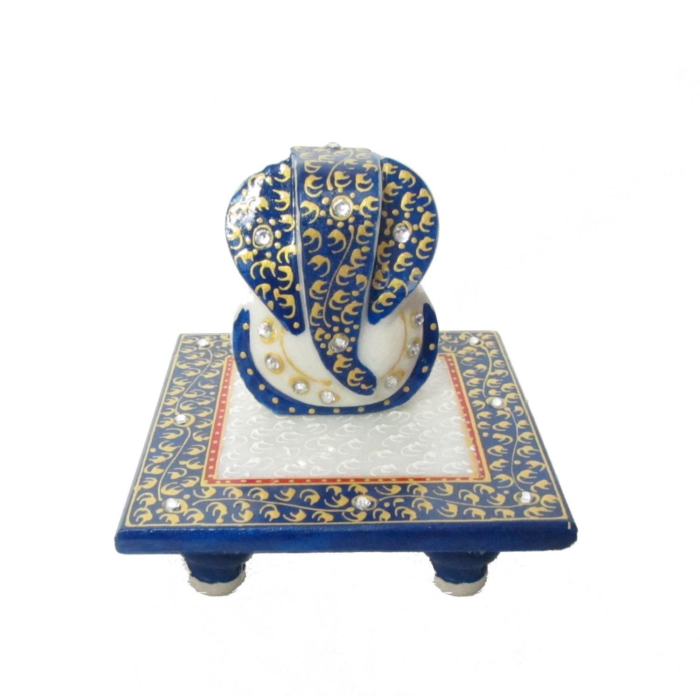Lord Ganesha on Blue Marble Chowki Indian Home Decor