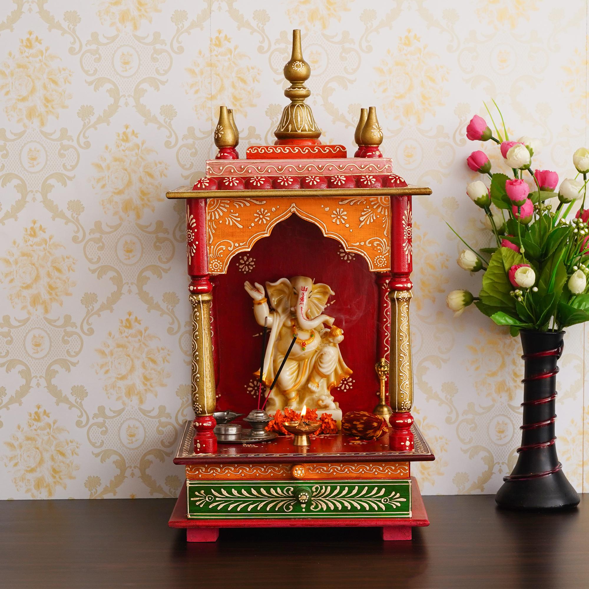 Red, Orange and Green Mango Wood Pooja Temple/Mandir with Storage Option Indian Home Decor