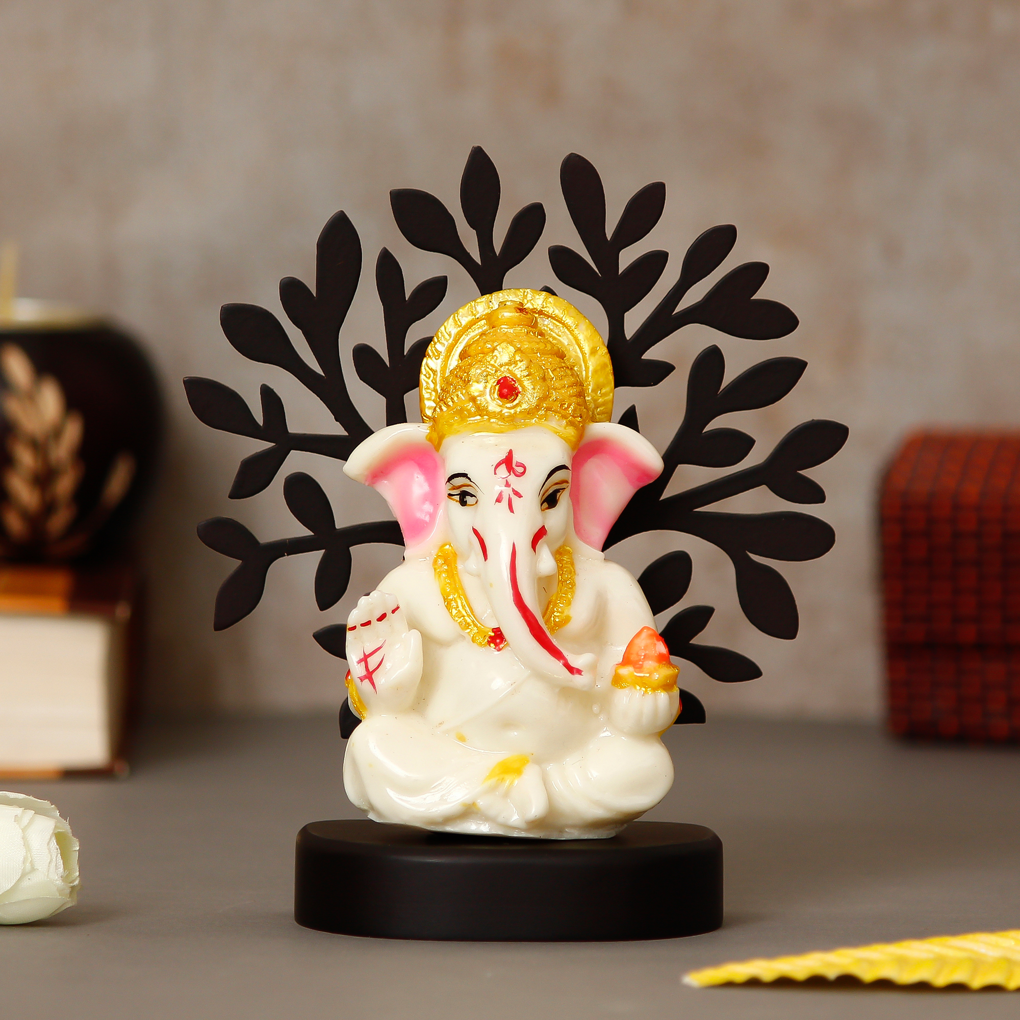 Decorative Lord Ganesha Idol with Wooden Tree for Car Dashboard, Home Temple and Office Desks Indian Home Decor