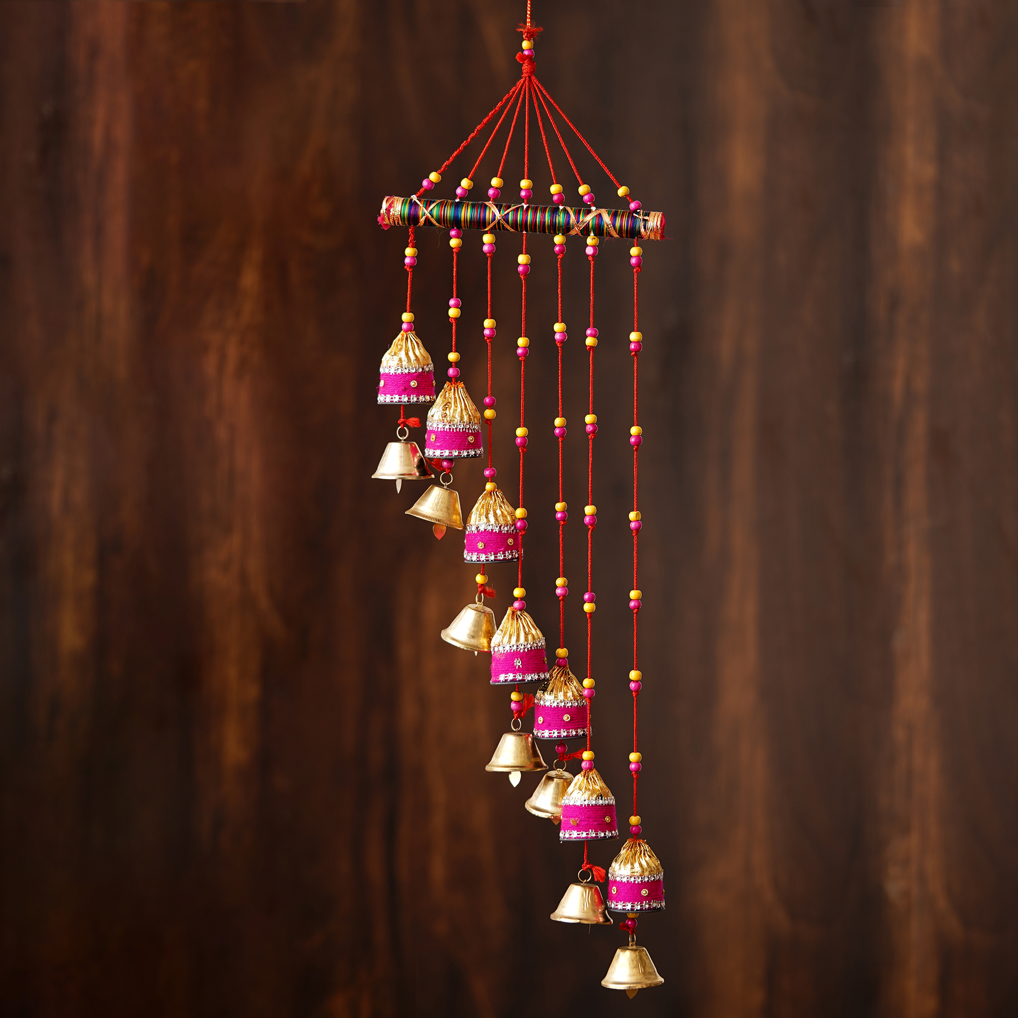 Handcrafted Decorative Colorful Lining Wall/Door/Window Hanging Bells Indian Home Decor