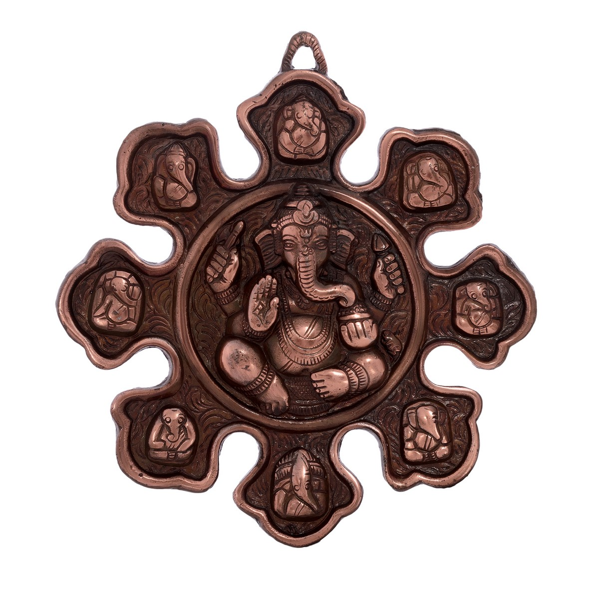 Metal Wall hanging with 9 variants of Lord Ganesha Indian Home Decor