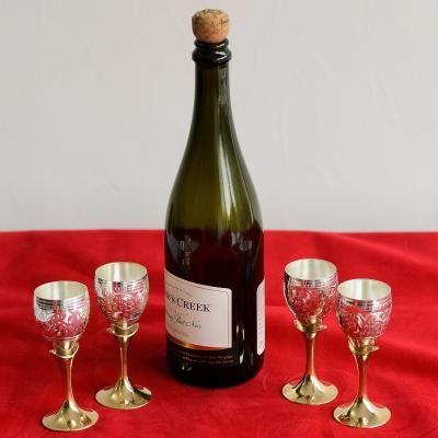 German Silver Elegant Wine Glass Set of 4 with Velvet Box Indian Home Decor