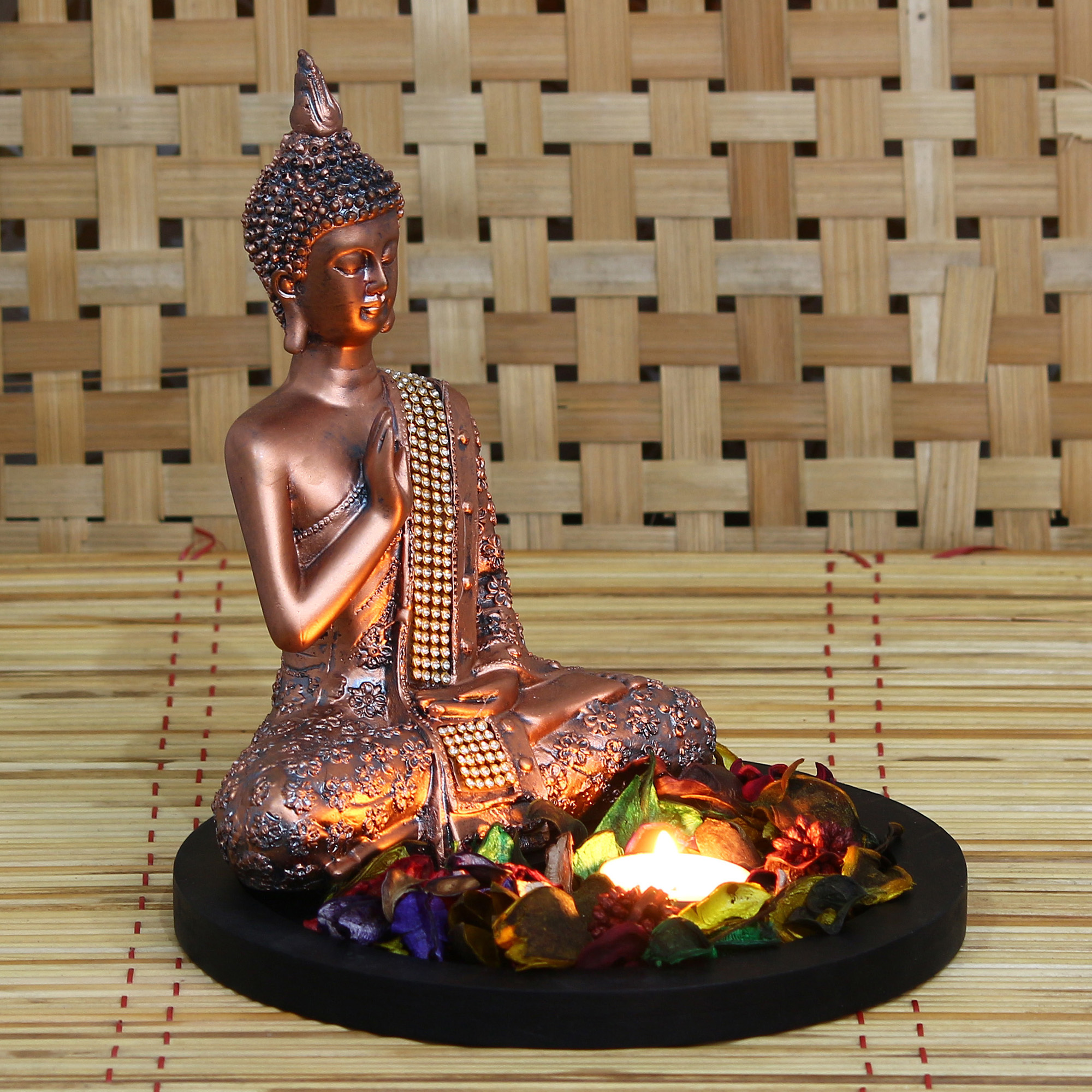 Copper Finish Meditating Buddha Decorative Showpiece with Wooden Base, Fragranced Petals and Tealight Indian Home Decor