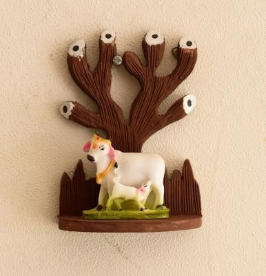 Polyresin Cow and Calf Under Wooden Tree Figurine Indian Home Decor