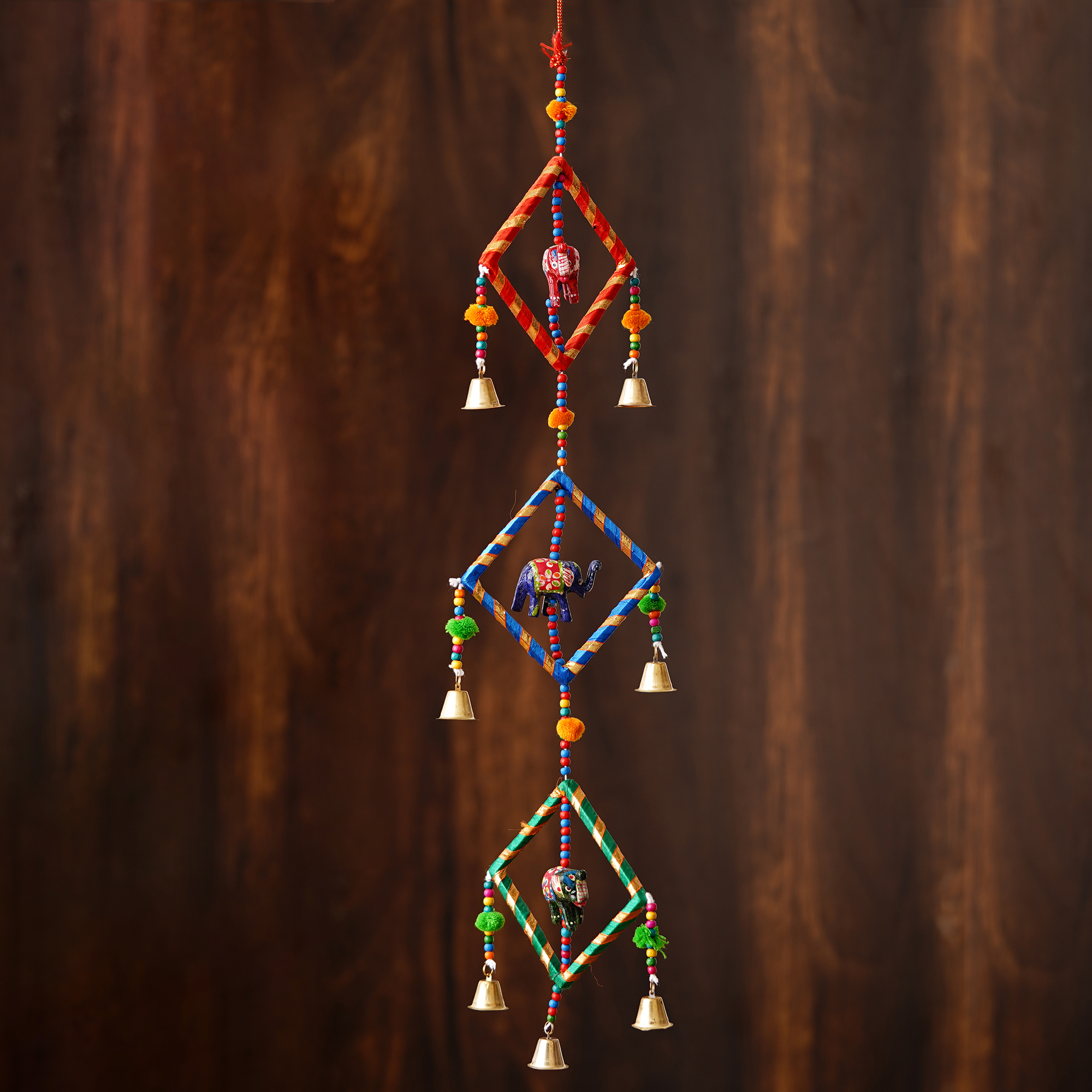 Handcrafted Decorative Colorful Squares with Gota Patti Wall/Door/Window Hanging Bells Indian Home Decor