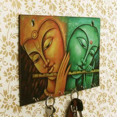 Radhe Krishna Theme Wooden Key Holder with 6 Hooks Indian Home Decor
