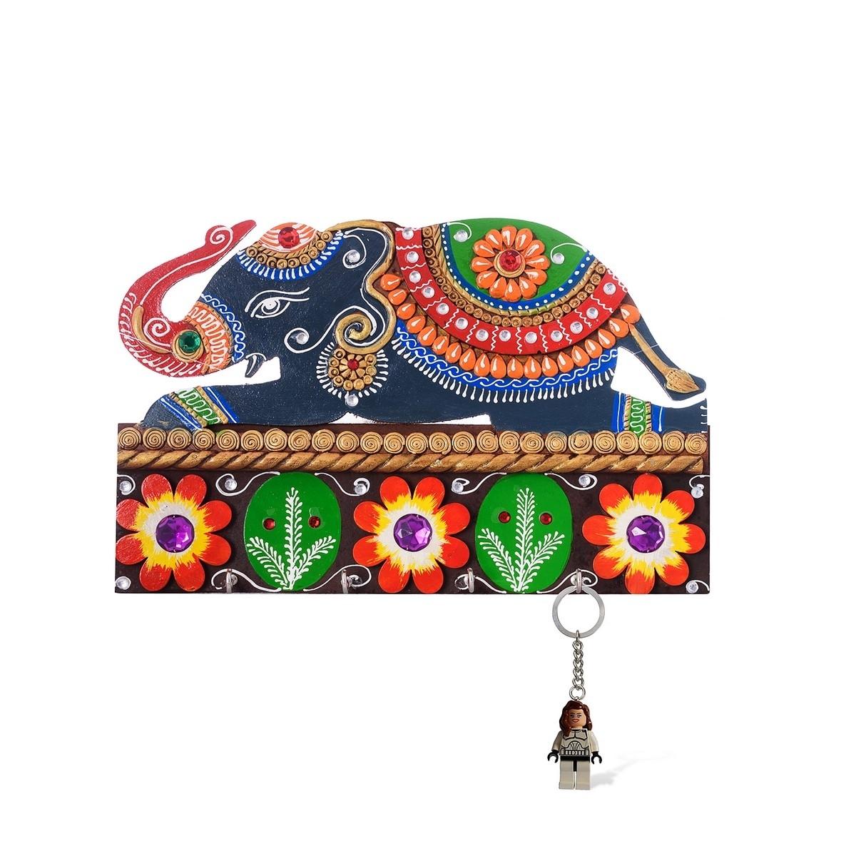 Decorative Elephant Papier-Mache Wooden Keyholder Indian Home Decor