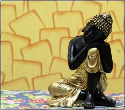 Handcrafted Lord Buddha Resting on Knee Indian Home Decor