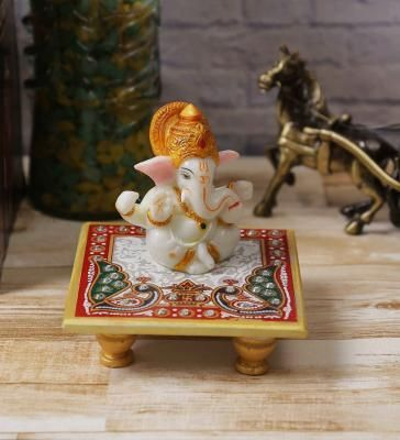 Lord Ganesha with Crown on Marble Chowki Indian Home Decor