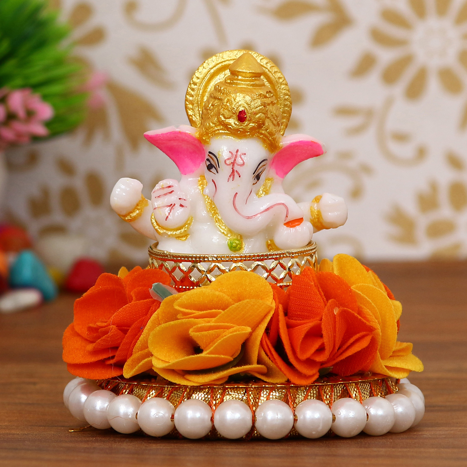 Lord Ganesha Idol on Decorative Handcrafted Plate with Orange and Yellow Flowers Indian Home Decor