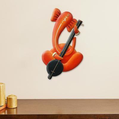Musician Lord Ganesha playing Harmonium Handcrafted Iron Wall Hanging Indian Home Decor