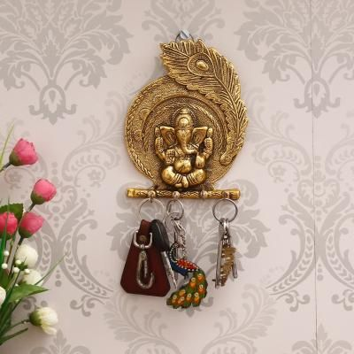 Golden Lord Ganesha Mor Pankh 4 Hooks Key Holder Indian Home Decor