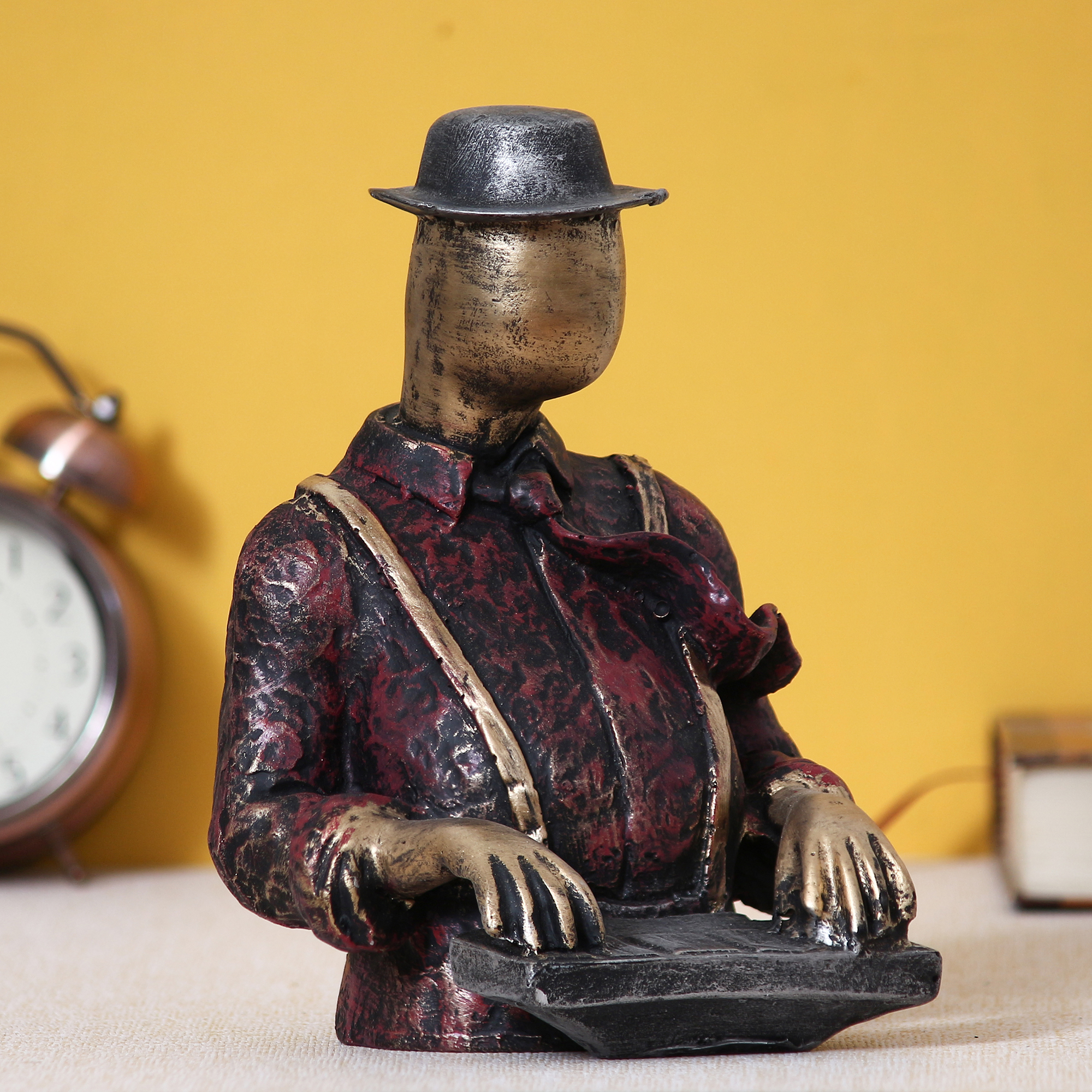 Man with Hat playing Piano Decorative Statue Indian Home Decor
