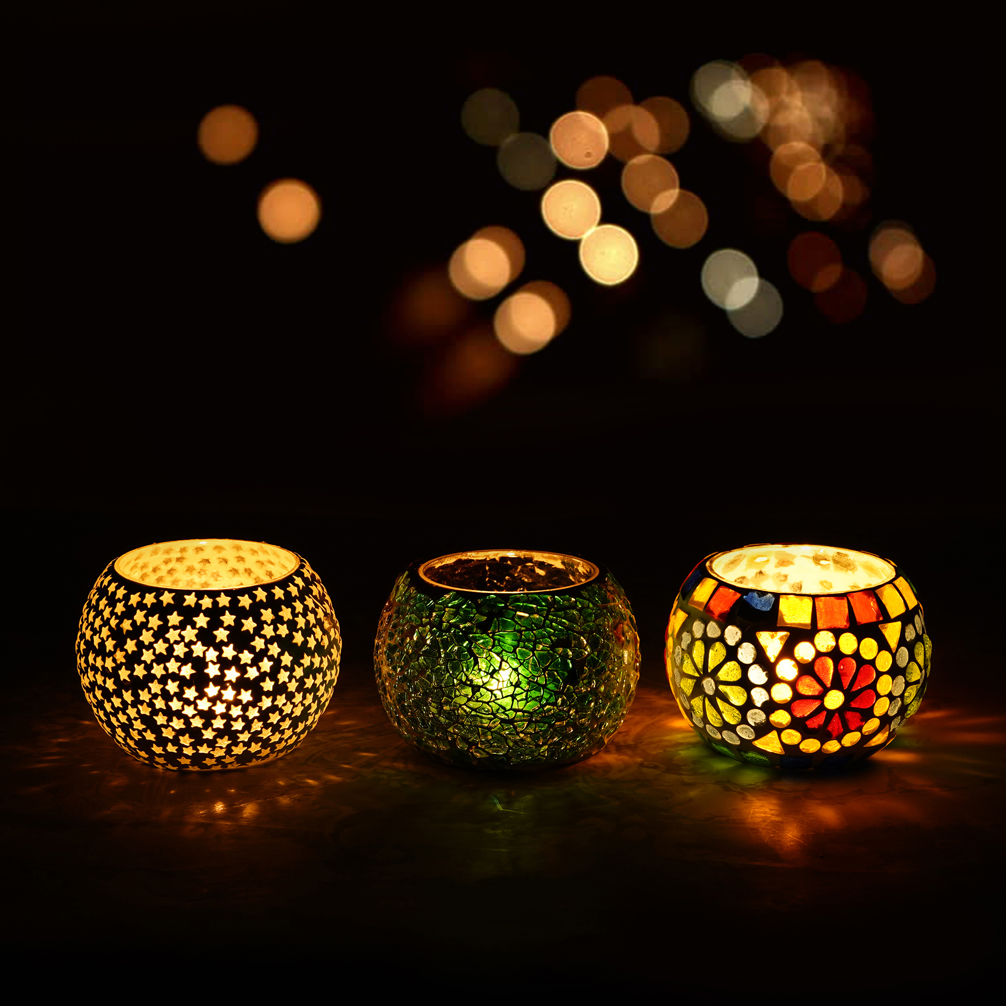 Set of 3 Mosiac Glass Decorative Tea Light Holder/Diya Indian Home Decor
