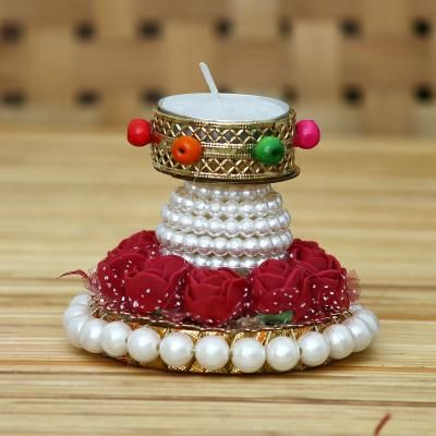 Floral and Stone Work Design Handcrafted Tea Light Holder Indian Home Decor