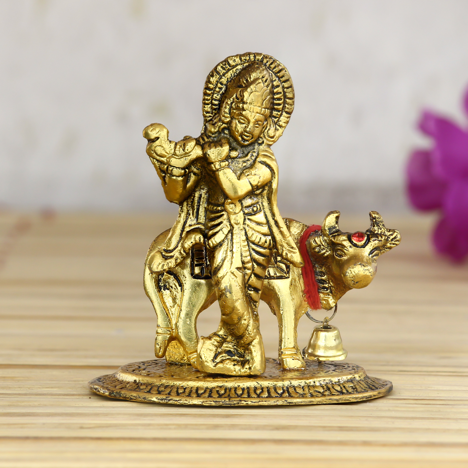 Lord Krishna playing Flute with Golden Cow Showpiece Indian Home Decor