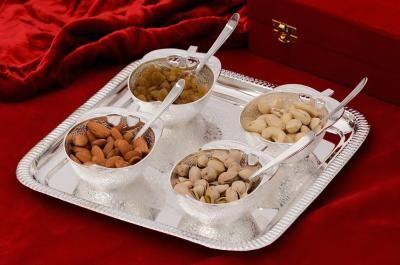 German Silver Multiutility Decorative Platter 4 Bowl Set with Velvet Box Indian Home Decor