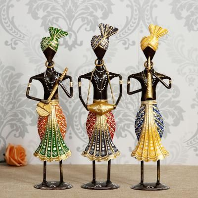 Set of 3 Tribal Man Playing Different Musical Instruments Decorative Showpiece Indian Home Decor