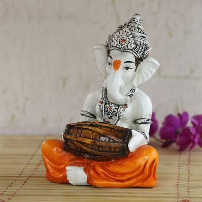 Lord Ganesha playing Dholak Indian Home Decor