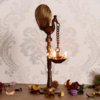 Decorative Handcrafted Brass Peocock Showpiece Diya for 5 wicks with Stand Indian Home Decor
