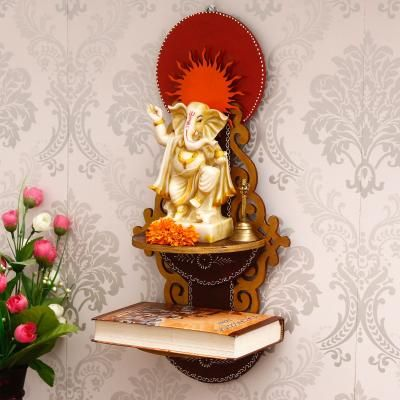 Brown & Red MDF Pooja Temple/Mandir with Additional Shelf Indian Home Decor