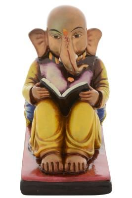 Premium Figurine of Lord Ganesha Reading Book Indian Home Decor
