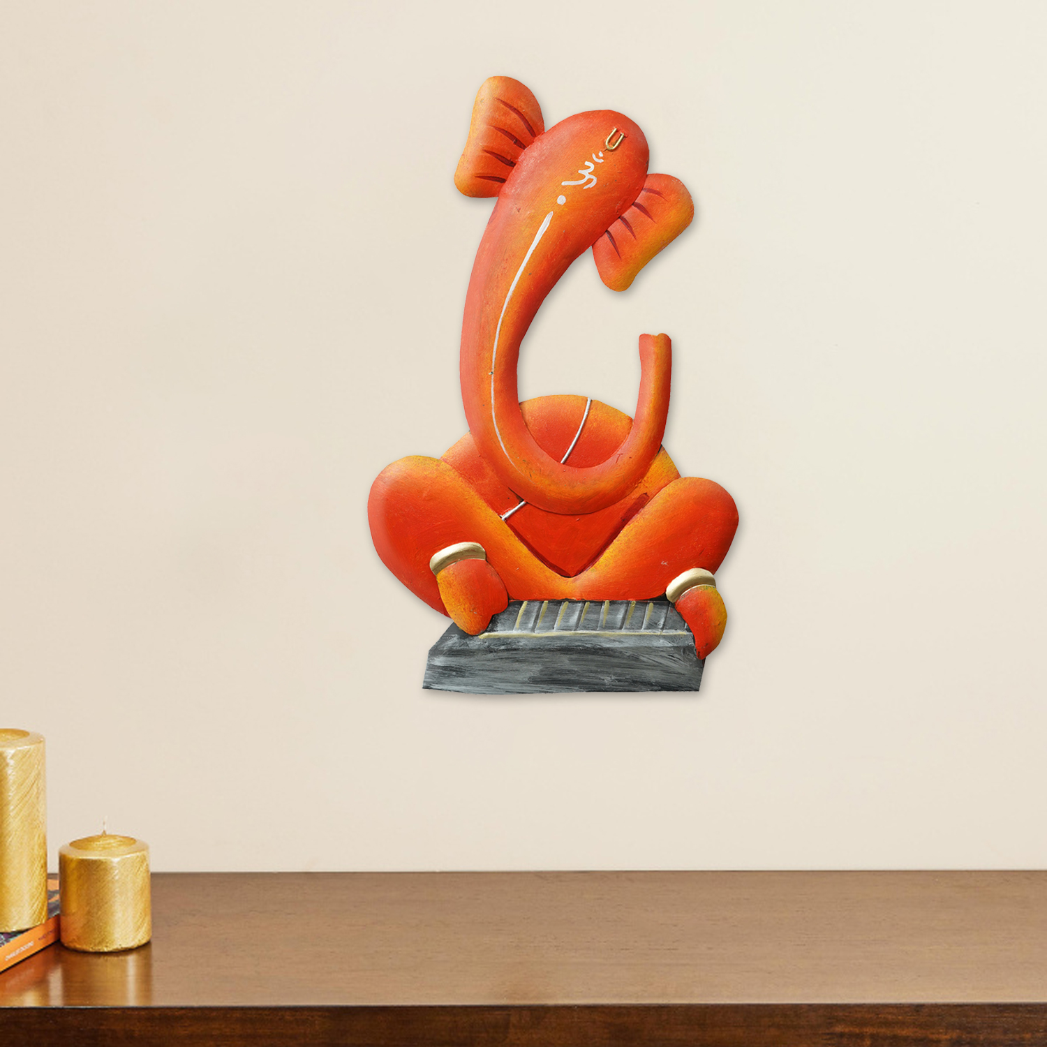 Musician Lord Ganesha playing Tabla Handcrafted Iron Wall Hanging Indian Home Decor