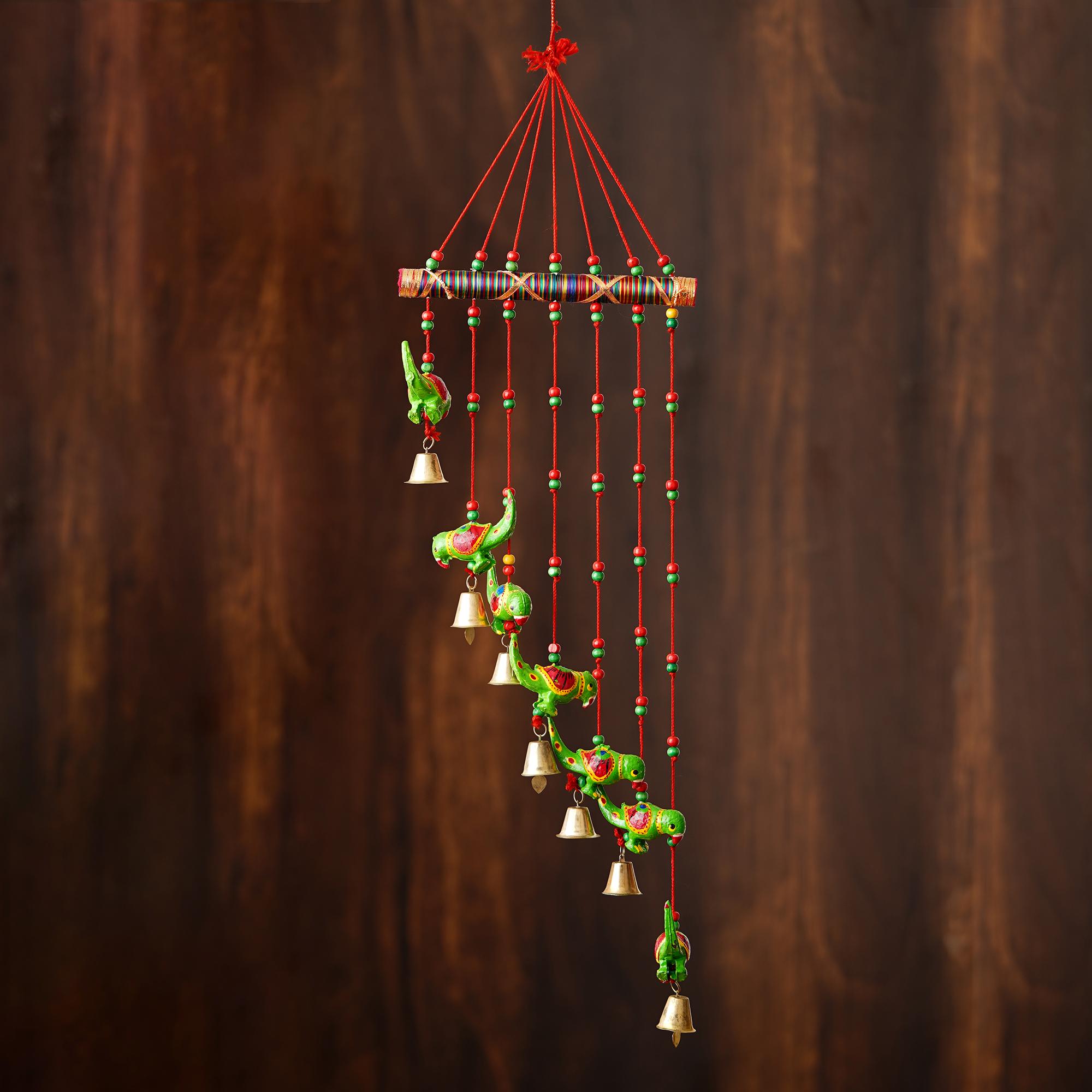 Handcrafted Decorative Parrot Wall/Door/Window Hanging Bells Indian Home Decor