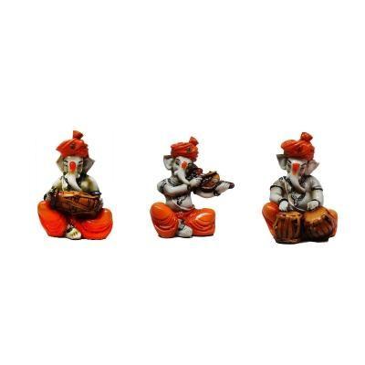 Set of 3 Ganesha Playing Dholak, Violen and Tabla Indian Home Decor