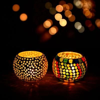 Set of 2 Mosiac Glass Decorative Tea Light Holder/Diya Indian Home Decor