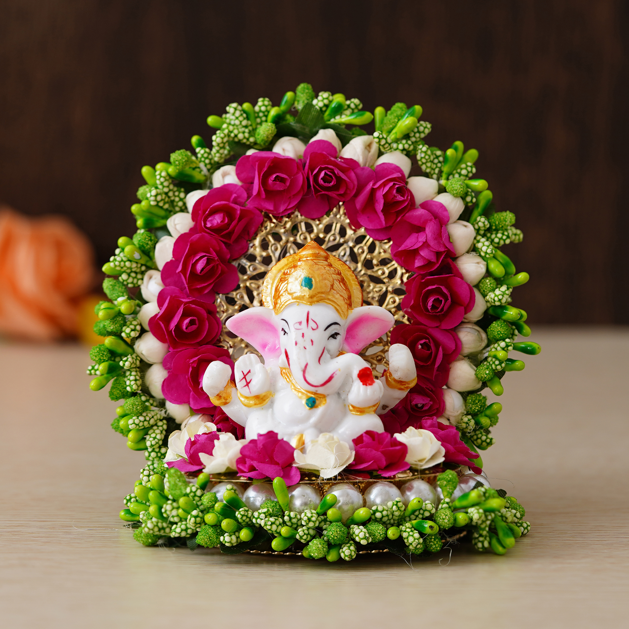 Lord Ganesha Idol on Decorative Handcrafted Green Floral Plate for Home and Car Indian Home Decor